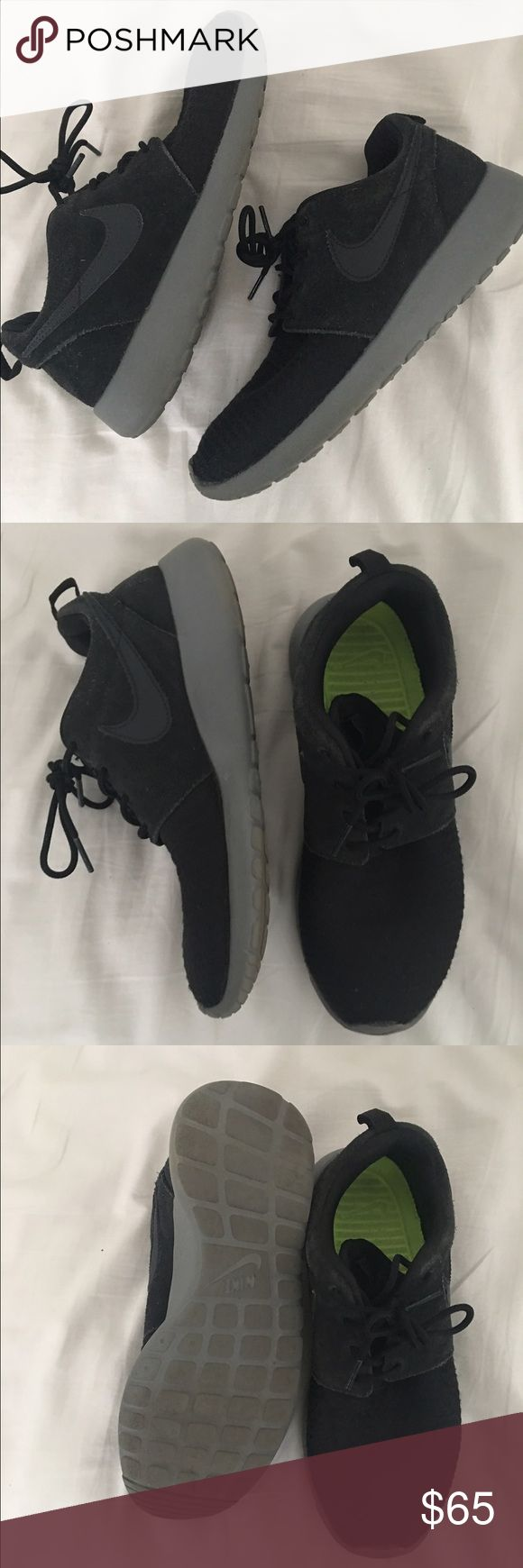 Size 6 like new custom Nike roshe runs! Custom made, like new, Nike roshe runs. These are gray bottom with black top. Top is half suede material. Inspired by Kim kardashian as shown in photos. Let me know if you have any questions! Nike Shoes Sneakers
