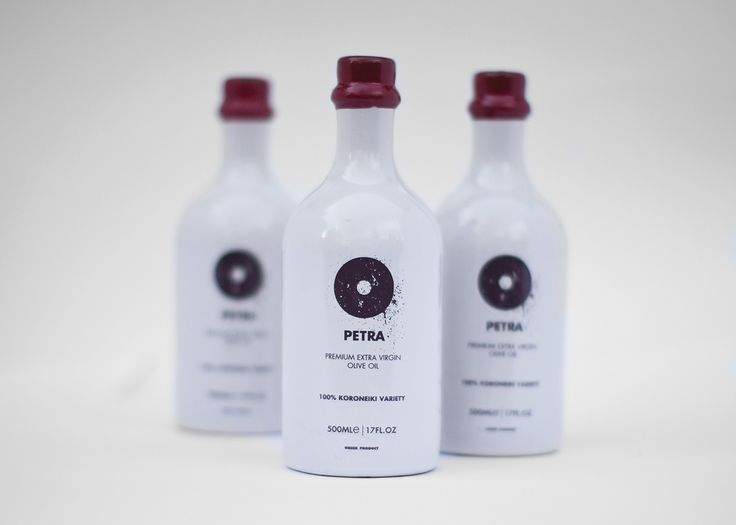 """PETRA"" Greek Extra Virgin Olive Oil of high standards bottled in an Heavy & Rough packaging reminding the origins of the authentic olive oil.  ANAGRAM design / Yiannis Xenakis"