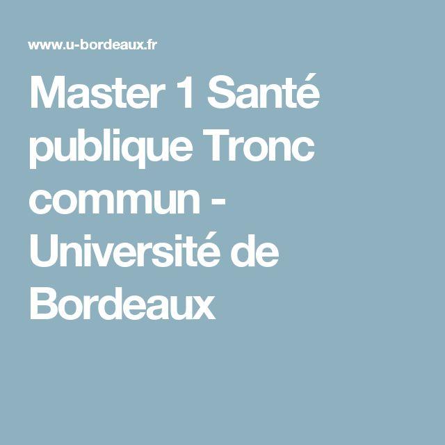 Master 1 Santé publique Tronc commun - Université de Bordeaux