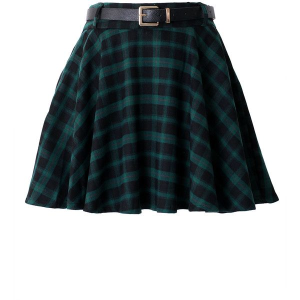 Green Plaid Skater Skirt with Belt ($39) ❤ liked on Polyvore