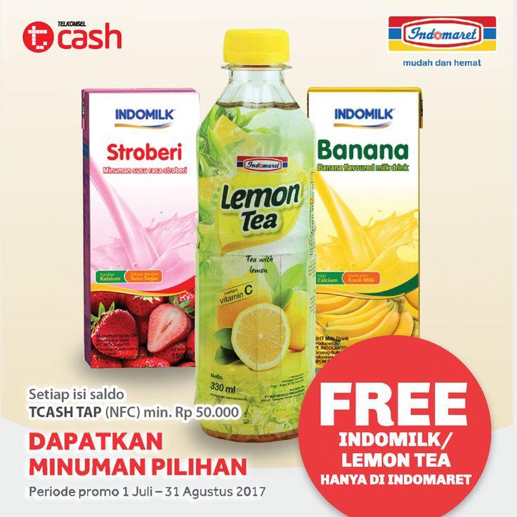 Setiap Setor Tunai minimum Rp 50.000 di Indomaret.Gratis 1 Indomaret lemon tea atau 1 Indomilk Susu Cair (tidak berlaku kelipatan)   Periode : 1 Juli - 31 Agustus 2017