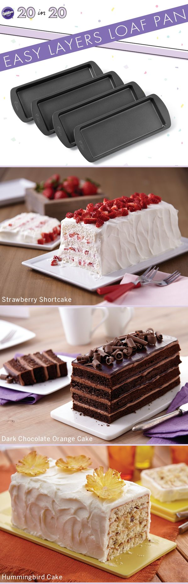 Check out these new layered cake recipes stacked using our Easy Layers! 4 Piece Loaf Cake Pan Set coming in June!