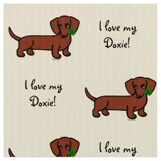 Red Smooth Dachshund Fabric for Doxie fans!  Shamrock leaf is included.