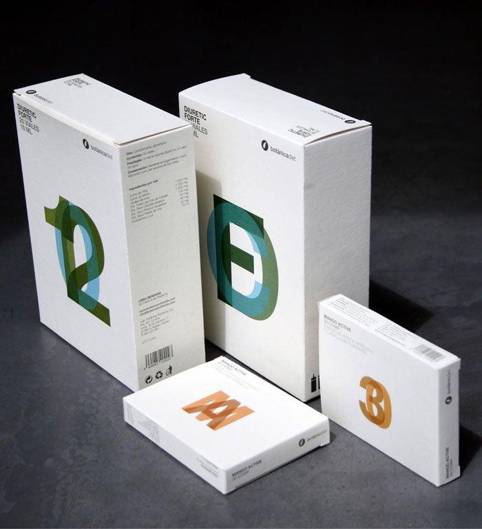 """Grupo Habermas Comunicación – """"Packaging design for natural dietetic line BOTANICDIET, from BOTANICANUTRIENTS brand. A simple and elegant design, where information, transparency details and the paper used (antique vellum ivory, from Torraspapel) determined the final outcome."""""""