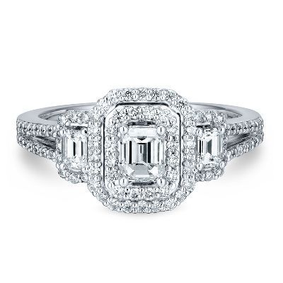 1 ct. tw. Three-Stone Diamond Ring in 14K Gold available at #HelzbergDiamonds