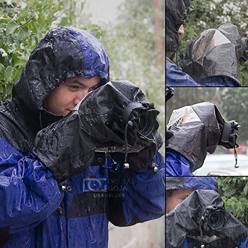 Altura Photo Professional Rain Cover Camera Protector for Large DSLR Cameras (CANON REBEL EOS T5i T4i T3i T3 T2i T1i SL1 XT XTi 70D 60D 7D 6D 5D Mark III, NIKON D7100 D7000 D5300 D5200 D5100 D5000 D3300 D3200 D3100 D3000 D90 D80) + MagicFiber Microfiber Lens Cleaning Cloth