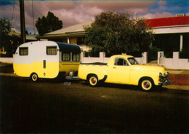 Fj Holden Ute and Historic / vintage Caravan. by ourtouringpast, via Flickr