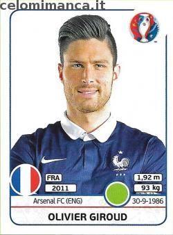 UEFA EURO 2016™ Official Sticker Album: Fronte Figurina n. 33 Olivier Giroud