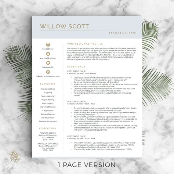modern resume template for word pages the willow instant download modern cv template - Modern Resume Template Word