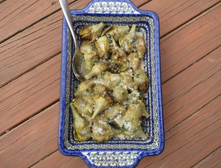 Pan Roasted Baby Artichokes with Basil and Parmesan