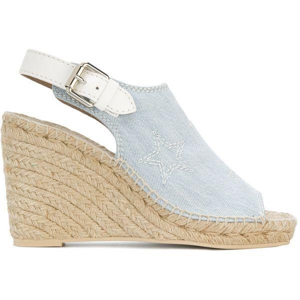 Stella McCartney denim espadrille wedge sandals (2.035 BRL) ❤ liked on Polyvore featuring shoes, sandals, blue, denim espadrilles, wedge espadrilles, wedge shoes, denim wedge sandals and wedge heel sandals