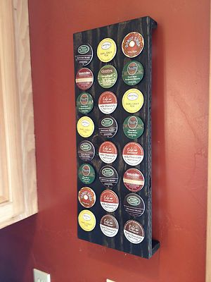 Try to DIY Rustic Keurig 24 Cup K Cup Holder... I like that this one is ON the wall and OFF the counter!