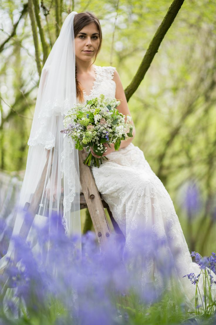 Dress  from www.bridalb.com/surrey  Photographer  http://jessicajillphotography.com  Bridal bouquet designed and created by www.hannahberryflowers.co.uk | Dress and head veil from www.bridalb.com/surrey