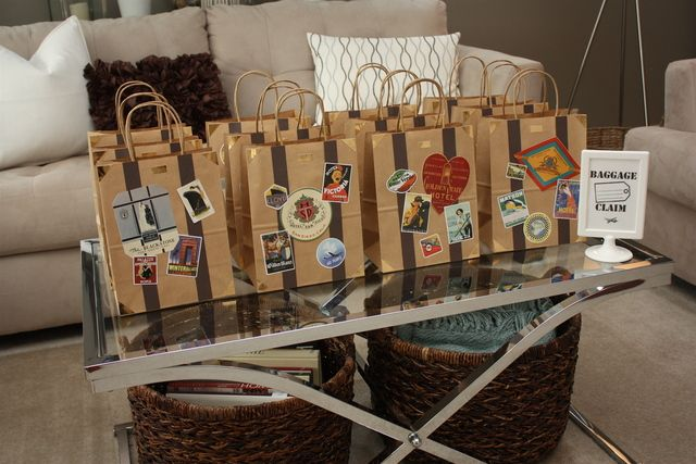 Vintage airplane / travel birthday party - suitcase goody bag favors