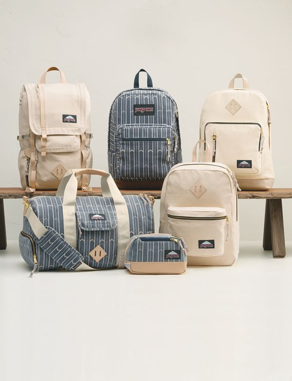 The full #JanSport #WaywardCollection. Featuring the Hatchet LD, Right Pack Expressions, Axiom, Duffel LD, Toiletry Kit, and Super FX. The new Wayward Collection is created from 100% cotton canvas with premium leather trim and thoughtful details.