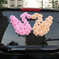 Pink and Cream Swans of Roses Wedding Car Decoration