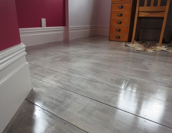 gray painted plywood plank floors I am so doing this...replacing my carpet over…