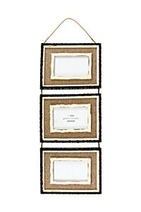 HESSIAN GALLERY THREE PICTURE HANGING PHOTO FRAME