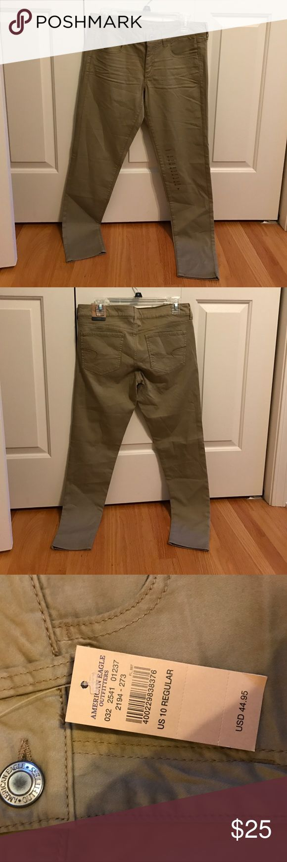 NWT American Eagle khaki jeggings NWT American Eagle khaki jeggings in size 10. These are super cute and can be dressed up for work or dressed down for everyday wear. The material is soft and comfortable. I have these in a different size and absolutely love them! Smoke free home. American Eagle Outfitters Pants Skinny