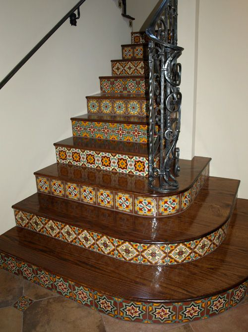 Spanish Tile Risers House Staircase Stairs Basement Stairs