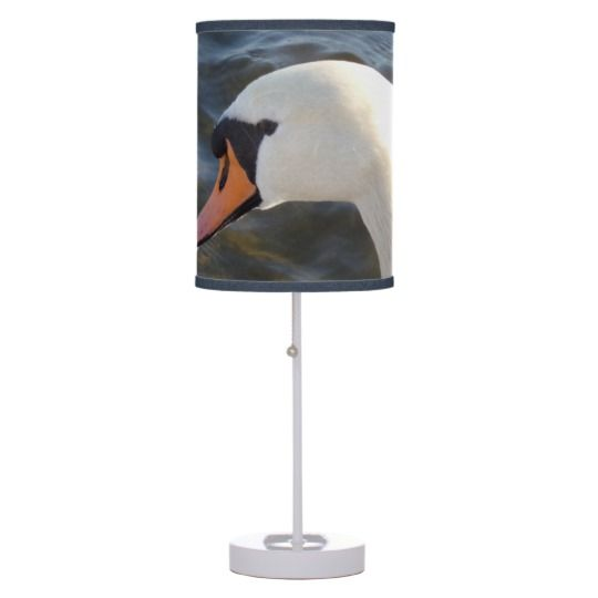 #zazzle #home #office #night #light #gift #giftidea #White #Swan #Table #Lamp