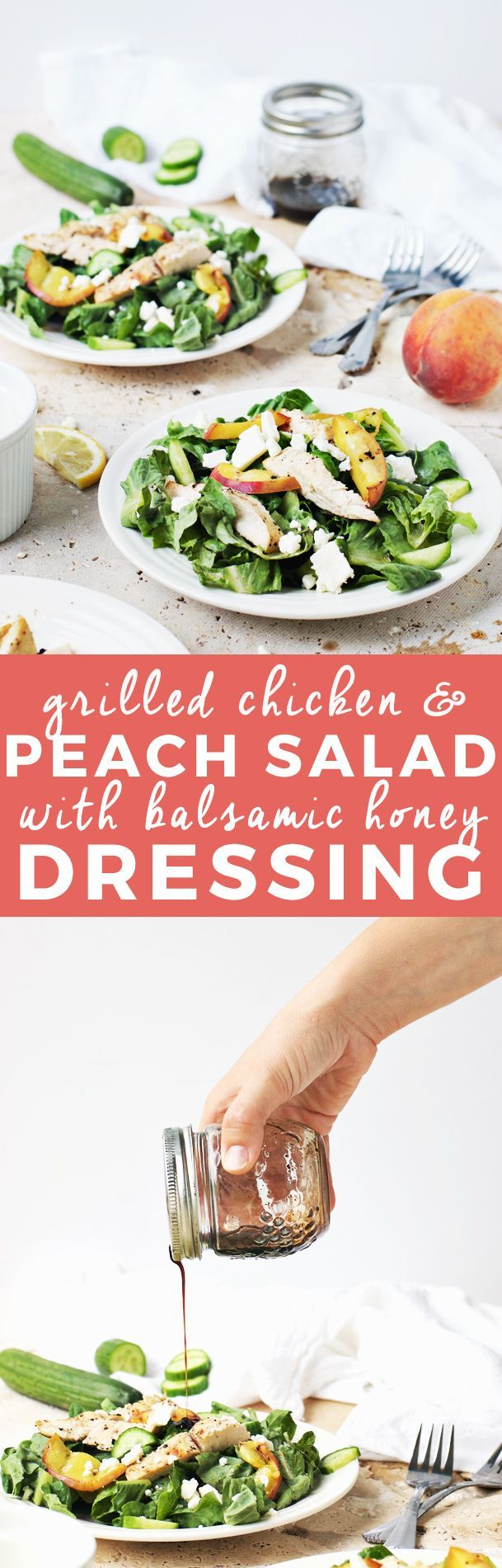 Juicy Grilled Peach and Chicken Salad with Balsamic Honey Dressing | summer salad recipes, homemade salad recipes, fresh salad recipes, healthy dinner recipes, healthy salad recipes, easy salad recipes, recipes using grilled peaches || The Butter Half via @thebutterhalf