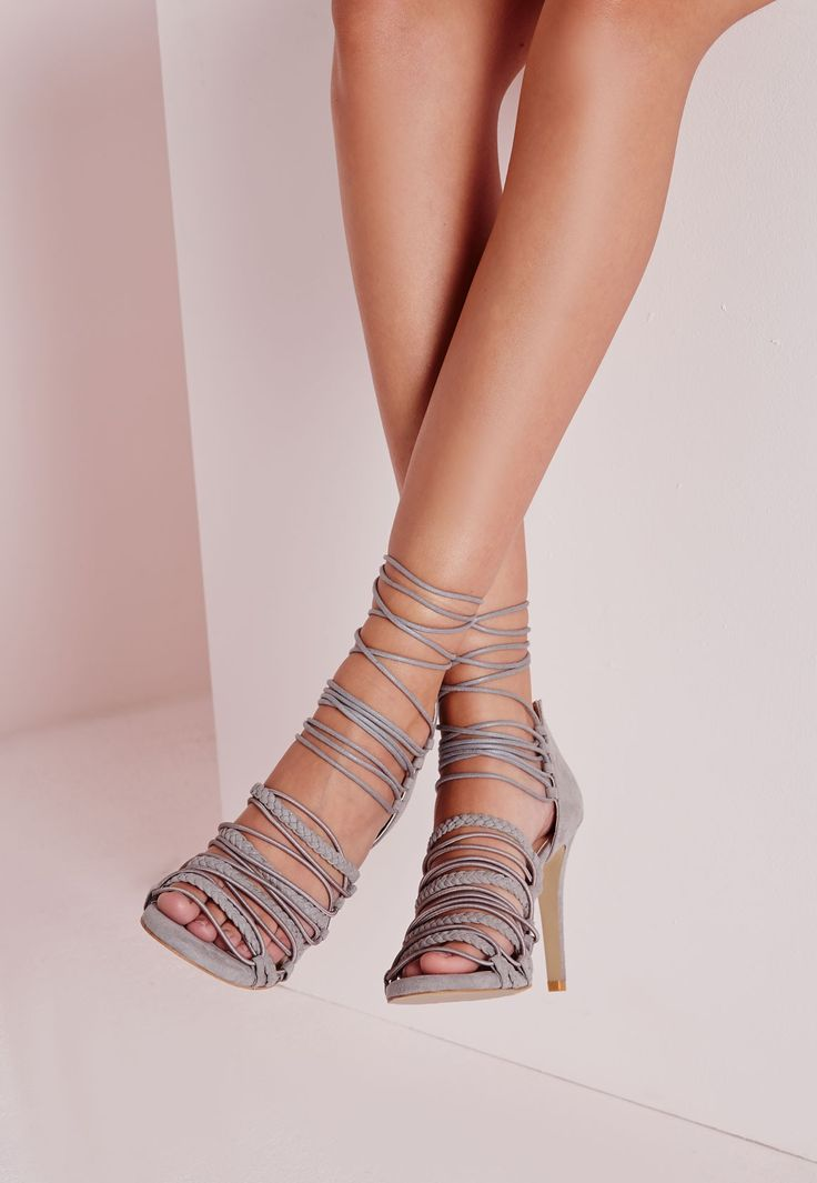 Ultra Strappy Lace Up Gladiator Sandals Grey - Shoes - High Heels - Missguided