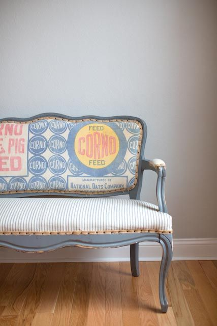 Vintage Flour Sack Upholstered Bench, really love the fabic for this piece!