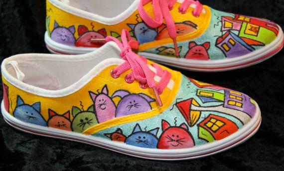 Hand Painted Shoes Women Cat Design Valentine's by KrazzyCloset