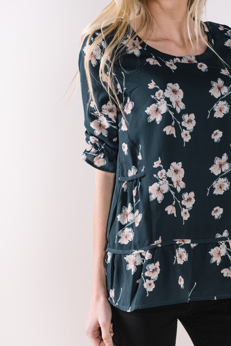 The Navy + Pink Rose Ruffle Blouse