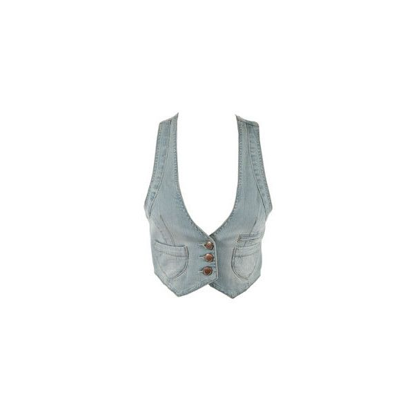 Article | Gilet barman en jean délavé | Pimkie France (€20) ❤ liked on Polyvore featuring outerwear, vests, jackets, tops, shirts and vest waistcoat