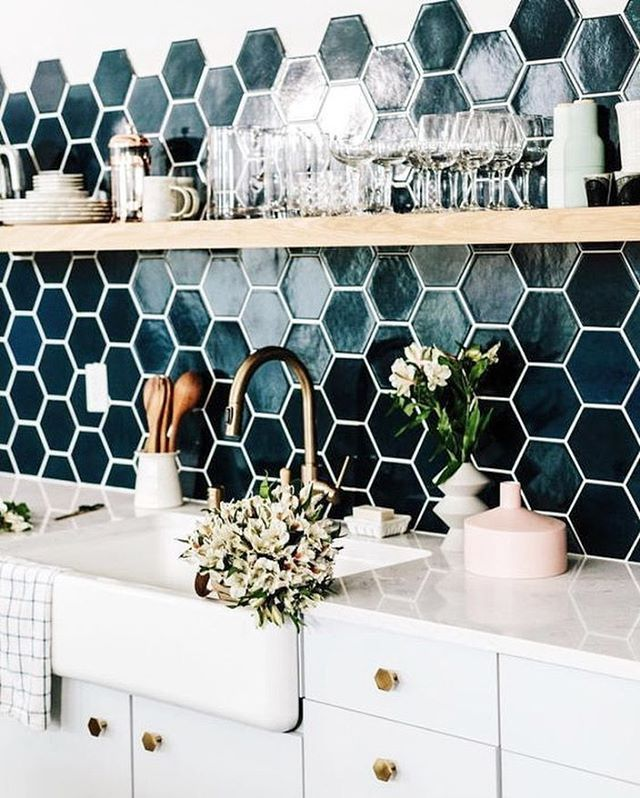 """218 Likes, 2 Comments - Tia Jane & Luke Saunders (@renovationhero) on Instagram: """"Honey comb tiles with fade finis, matched with white kitchen, wood panel and gold tap and handles! """""""