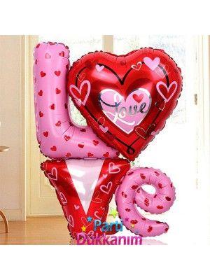 Love Romantik Kalp Folyo Balon (81x91cm)