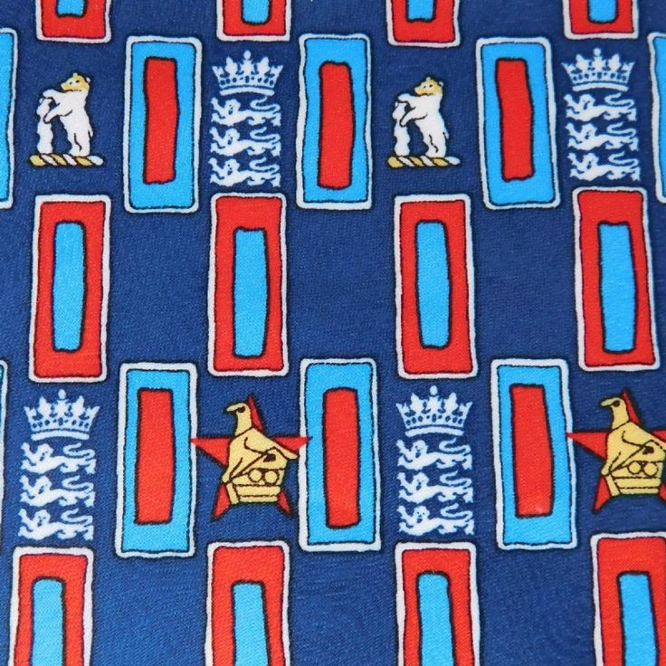 Cricket tie from 2000 Made for Tie Rack England v Zimbabwe at Edgbaston Blue red and navy check pattern on silky-textured polyester Width 3 3 4 9 5cm