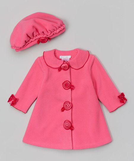 Gerson & Gerson Fuchsia Rosette Hat & Coat - Toddler & Girls | zulily