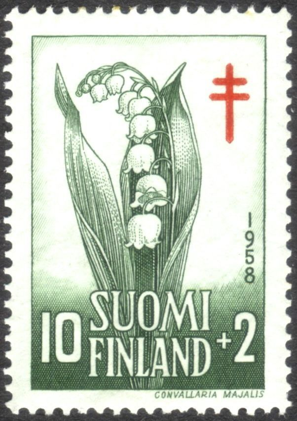 **Finland, national flower, Lily of the Valley, Convallaria majalis – 1958