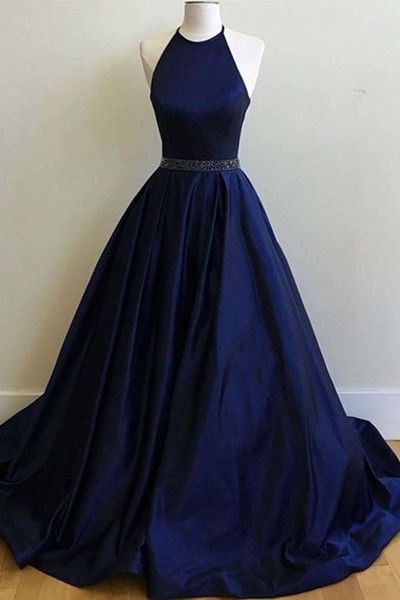 Navy blue satin prom dress, ball gown, cute halter dress for prom 2017