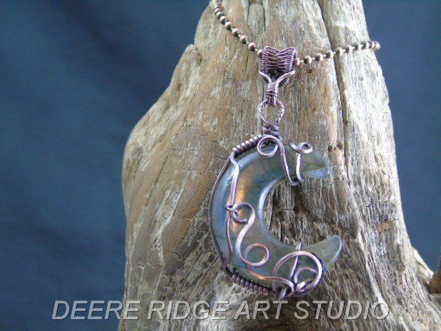 Sodalite Crescent Moon Wire Wrapped Pendant
