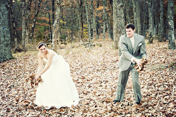 For the pictures, if it hasn't snowed yet, our family engaging in a leaf fight. Perhaps the same with the wedding party.