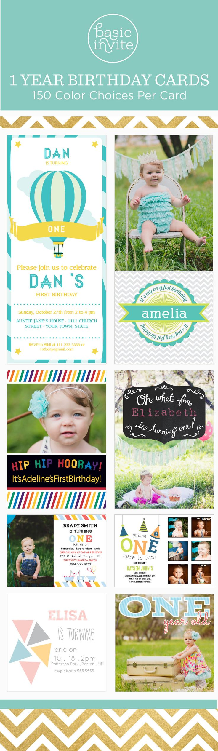 Over 100 Different First Birthday Invitations That Can Be Instantly Personalized Online.