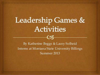 Slides 32 to the end have great Leadership Games and Activities, but the slides before that contain wonderful icebreakers and energizes for a camp setting. Really great resource.
