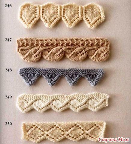 Многие вязальщицы оформляют края своего изделия крючком, хотя все оно может быть выполнено спицами, потому что уверены, что ничего, кроме различных видов резинки для оформления края спицами не