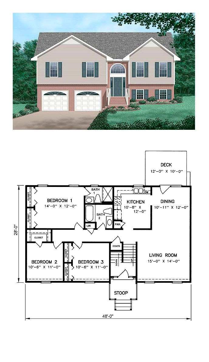 Traditional Style House Plan 45253 with 3 Bed 2 Bath 2