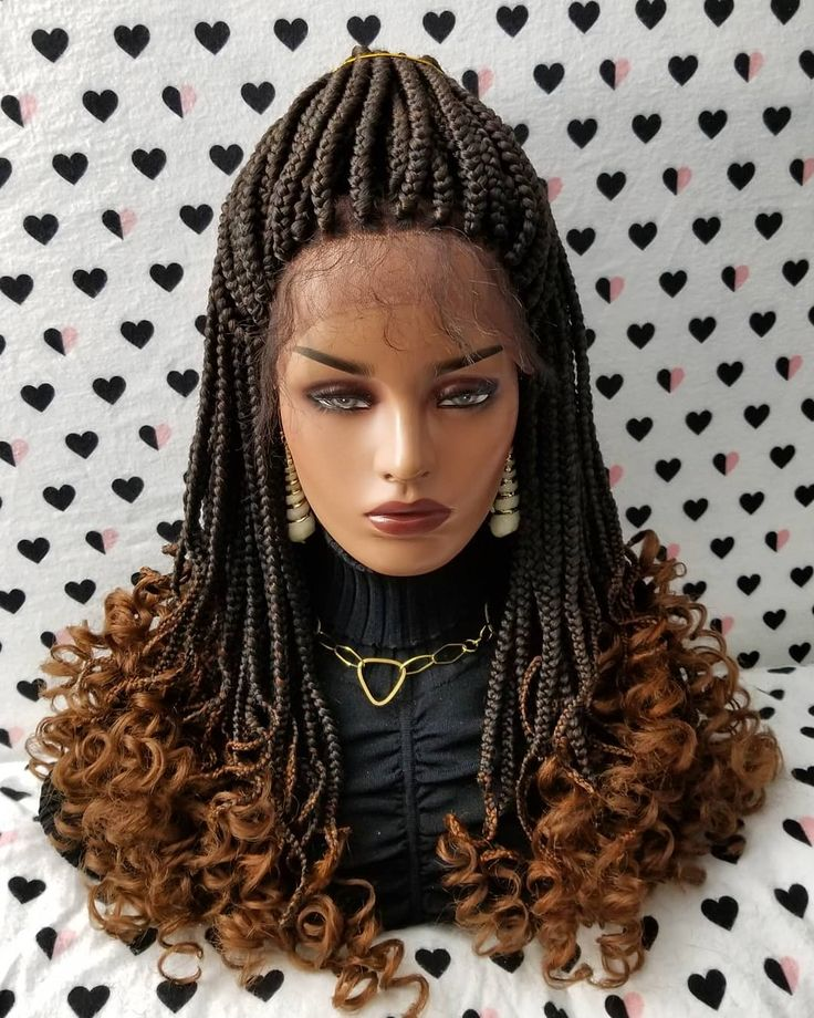 Goddess Box Braids Braided Lace Front Wig color 1b/30