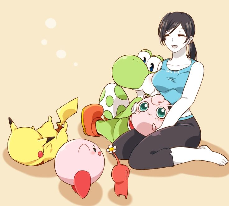 Wii Fit Trainer, Red Pikmin, Yoshi, Jigglypuff, Kirby and Pikachu.