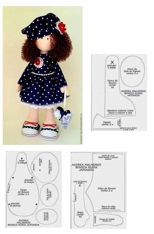 выкройка куклы большеножки