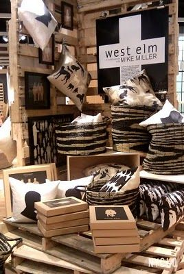 Visual Merchandising with pallets @west elm #visualmerchandising #retail #storedisplay