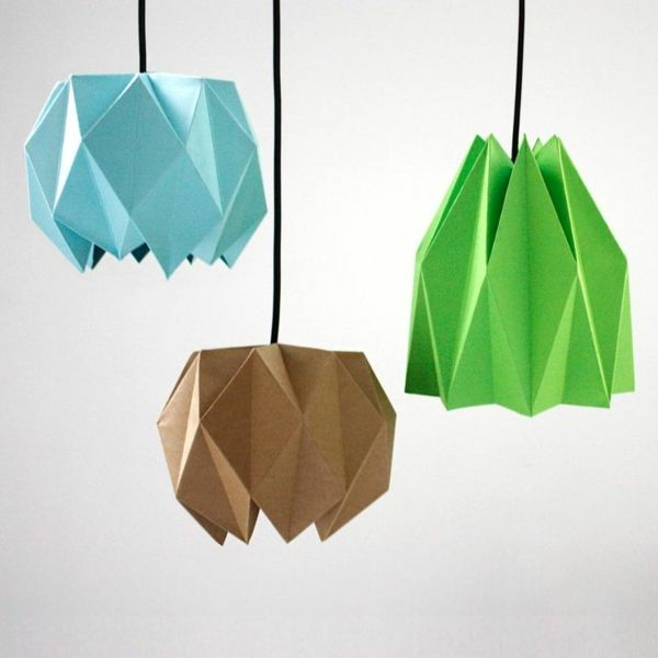 farbpapier origami lampenschirm basteln