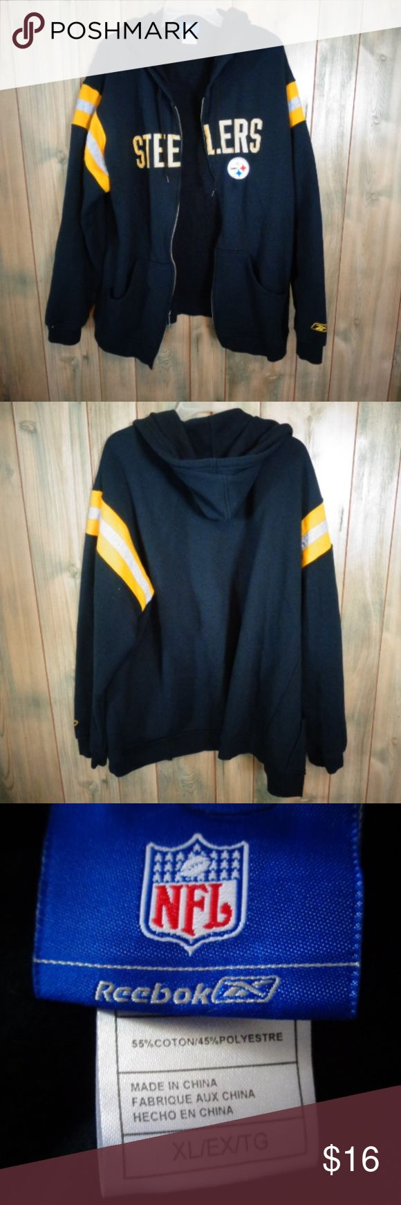 hooded steelers jacket in very good condition zipper works no stain or tears Jackets & Coats