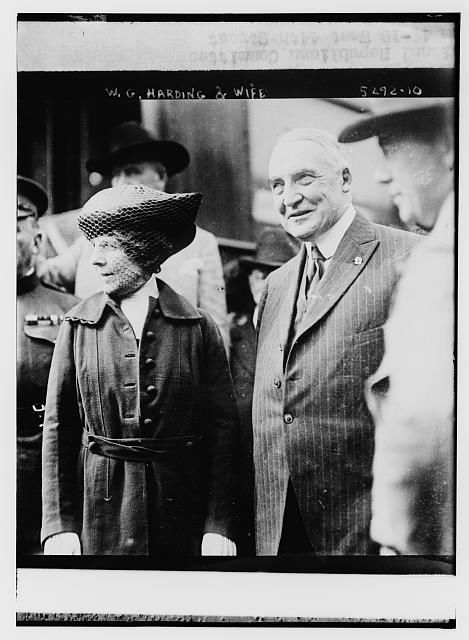 President Warren G. Harding,wife,Florence King,First Lady,couples,coats,hats